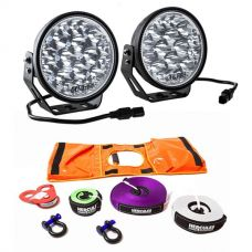 "Adventure Kings Domin8r Xtreme 7"" LED Driving Lights (Pair) + Hercules Essential Recovery Kit"