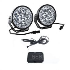 "Kings Domin8r Xtreme 7"" LED Driving Lights (Pair) + Heads Up Display (HUD) Unit"