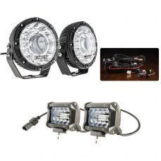 "Kings 7"" Laser Driving Lights (Pair) + 4"" LED Light Bar + Plug N Play Smart Wiring Harness Kit"