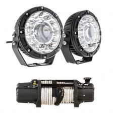 "Kings 7"" Laser Driving Lights (Pair) + Domin8r Xtreme 12,000lb Winch"