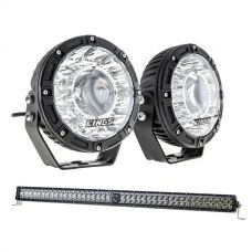 "Kings 7"" Laser Driving Lights (Pair) + Kings 30"" Laser Light Bar"