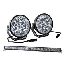 "Kings Domin8r Xtreme 7"" LED Driving Lights + 30"" Laser Light Bar"