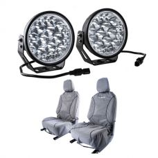 """Kings Domin8r Xtreme 7"""" LED Driving Lights (Pair) + Kings Universal Premium Canvas Seat Covers (Pair)"""