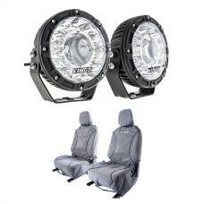 "Kings 7"" Laser Driving Lights (Pair) + Kings Universal Premium Canvas Seat Covers (Pair)"