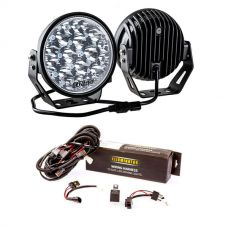 "Kings 7"" LED Driving Lights (Pair) + Spotlight Wiring Harness"