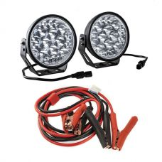 "Adventure Kings Domin8r Xtreme 7"" LED Driving Lights (Pair) + Adventure Kings Heavy-Duty Jumper Leads"