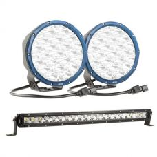 """Kings Domin8r X 7"""" Driving Lights fitted with OSRAM LEDs (Pair) + 20"""" Slim Line LED Light Bar"""
