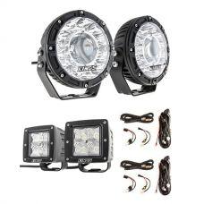 "Kings 7"" Laser Driving Lights (Pair) +  3"" LED Work Light - Pair + 2 x Plug N Play Smart Wiring Harness Kit"