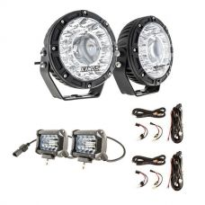 "Kings 7"" Laser Driving Lights (Pair) + 4"" LED Light Bar + 2 x Plug N Play Smart Wiring Harness Kit"