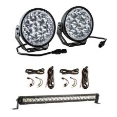 "Adventure Kings Domin8r Xtreme 7"" LED Driving Lights (Pair) + 2x Plug N Play Smart Wiring Harness Kit + 20"" LETHAL MKIII Slim Line LED Light Bar"