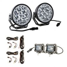 "Adventure Kings Domin8r Xtreme 7"" LED Driving Lights (Pair) +2 x Plug N Play Smart Wiring Harness Kit + 4"" LED Light Bar"