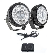 "Kings 7"" Laser Driving Lights (Pair) + Heads Up Display (HUD) Unit"