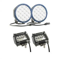 """Kings Domin8r X 7"""" Driving Lights fitted with OSRAM LEDs (Pair) + Adventure Kings 4"""" LED Light Bar"""