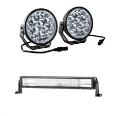 "Adventure Kings Domin8r Xtreme 7"" LED Driving Lights (Pair) + Domin8r 22"" LED Light Bar"