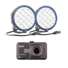 """Kings Domin8r X 7"""" Driving Lights fitted with OSRAM LEDs (Pair) + Adventure Kings Dash Camera"""