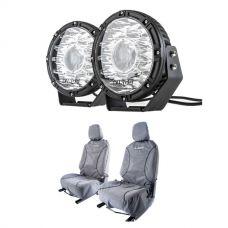 "Kings 8.5"" Laser MKII Driving Lights (pair) + Kings Universal Premium Canvas Seat Covers (Pair)"