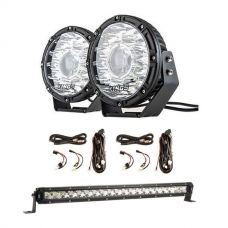 "Adventure Kings 8.5"" Laser Driving Lights + 2 x Smart Harness + 20"" LETHAL MKIII Slim Line LED Light Bar"