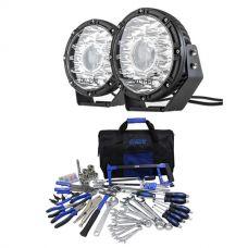 "Kings 8.5"" Laser MKII Driving Lights (pair) + Ultimate Bush Mechanic Tool Kit 150+ Pieces"