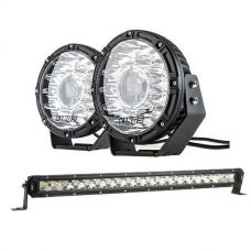 "Adventure Kings 8.5"" Laser Driving Lights + 20"" LETHAL MKIII Slim Line LED Light Bar"