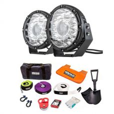 """Kings 8.5"""" Laser MKII Driving Lights (pair) + Hercules Complete Recovery Kit - 11-piece"""