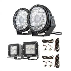 "Kings 8.5"" Laser MKII Driving Lights (pair) + 2 x Smart Harness + 3"" LED Work Light - Pair"