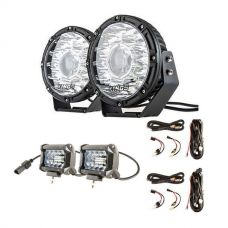 "Kings 8.5"" Laser MKII Driving Lights (pair) + 2 x Plug N Play Smart Wiring Harness Kit + 4inch LED Light Bar (Pair)"