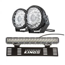 "Kings 8.5"" Laser MKII Driving Lights (pair) + 15"" Numberplate LED Light Bar"