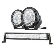 "Kings 8.5"" Laser MKII Driving Lights (pair) + Domin8r 22"" LED Light Bar"