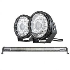 "Kings 8.5"" Laser MKII Driving Lights (pair) + Domin8r 42"" LED Light Bar"