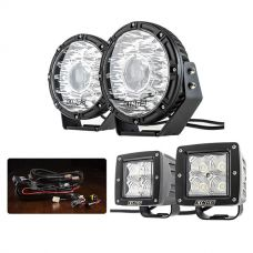 "Kings 8.5"" Laser MKII Driving Lights (pair) + Smart Harness + 3"" LED Work Light - Pair"