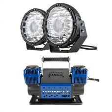 "Kings 8.5"" Laser MKII Driving Lights (pair) + Thumper Max Dual Air Compressor MkII"
