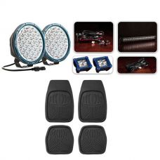 """Ultimate 9"""" Domin8rX Driving Light Pack fitted with OSRAM LEDs + Deep Dish Floor Mats Set of 4"""