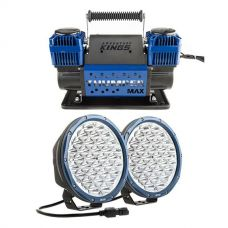 "Kings Domin8r X 9"" Driving Lights fitted with OSRAM LEDs (Pair) + Thumper Max Dual Air Compressor"