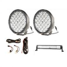 """9"""" Slim Line LED Driving Lights + Domin8r 22"""" LED Light Bar + Smart Harness"""