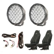 "9"" Slim Line LED Driving Lights + Smart Harness + Heavy Duty Seat Covers"