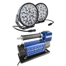 """Kings Domin8r Xtreme 9"""" LED Driving Lights (Pair) + Thumper Air Compressor MkIII"""