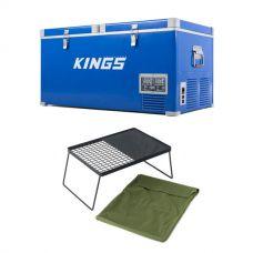 Kings 90L Camping Fridge Freezer + Camp Fire BBQ Plate