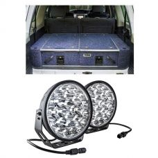 """900mm Titan Rear Drawers suitable for smaller wagons + Domin8r Xtreme 9"""" LED Driving Lights (Pair)"""