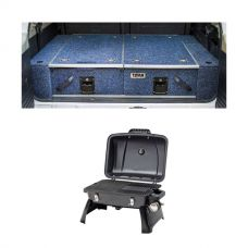 Titan Rear Drawer with Wings suitable for Nissan Patrol GQ + Voyager Portable Gas BBQ