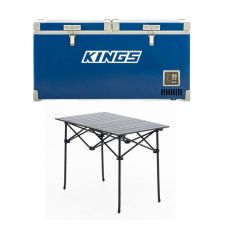 Kings 90L Camping Fridge Freezer | Dual Zone + Aluminium Roll-Up Camping Table