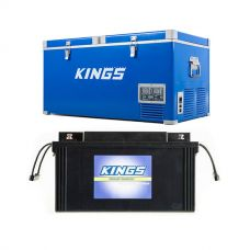 Kings 90L Camping Fridge Freezer | Dual Zone + Adventure Kings 138Ah AGM Deep-Cycle Battery