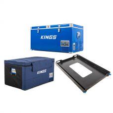 Kings 90L Camping Fridge Freezer | Dual Zone + 90L Fridge Cover + Titan 100L Fridge Slide