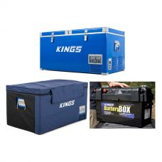 Kings 90L Camping Fridge Freezer + 90L Fridge Cover + Maxi Battery Box