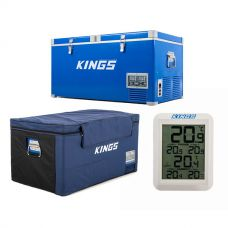 90L Camping Fridge Freezer + Kings 90L Fridge Cover + Wireless Fridge Thermometer