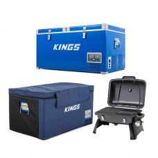 Kings 90L Camping Fridge Freezer + 90L Fridge Cover + Gasmate Voyager Portable Gas BBQ