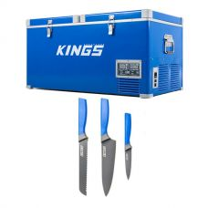 Kings 90L Camping Fridge Freezer | Dual Zone + 4-Piece Camping Chef's Knives Kit