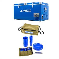 Kings 90L Camping Fridge Freezer + Adventure Kings 37 Piece Picnic Set