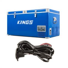 Kings 90L Camping Fridge Freezer | Dual Zone + 12v Fridge Wiring Kit