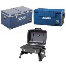 Kings 90L Camping Fridge Freezer + 90L Fridge Cover + Gasmate Voyager Portable Gas BBQ