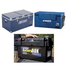 Kings 90L Camping Fridge Freezer + 90L Fridge Cover + Maxi Battery Box